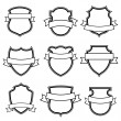 Shield with ribbon collection set isolated — Stock vektor