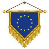Vector pennant with the flag of European Union — Stock Vector