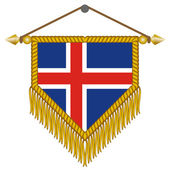 Vector pennant with the flag of Iceland — Stock Vector
