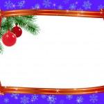 Christmas frame ribbon fir branches ball — Stock Vector