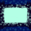 Grungy winter sneeuwvlok frame patroon — Stockvector