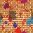 Seamless dirty brick wall, graffiti, paint — Stock Vector