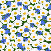 Seamless camomiles and cornflower pattern — Cтоковый вектор