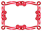 Red ribbon frame isolated on white — Vector de stock