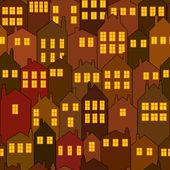Bezešvé noční město dům vzor — Stock vektor