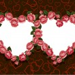 Vector de stock : Rose flowers two hearts frame pattern