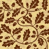 Oak leaf acorn seamless background — Stock Vector
