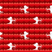 Cupid with heart seamless background pattern — Stock Vector