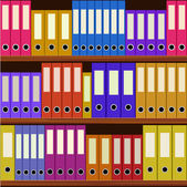 Seamless shelfs with many-coloured folders — Stock Vector