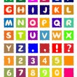 Cartoon alphabet on square colored paper ABC font — Stock Vector #9228318