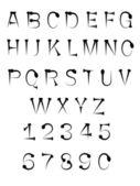 Nail tack alphabet ABC font — Stock Vector