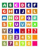 Cartoon alphabet on square colored paper ABC font — Stock Vector