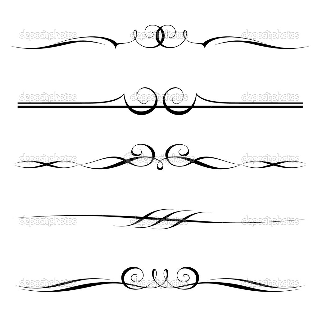 Vector set of decorative elements, border and page rules frame — Stock Vector #9228343