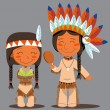 Thanksgiving Day Native American Couple - Stock Vector