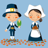 Thanksgiving Day Pilgrim Couple — Vector de stock