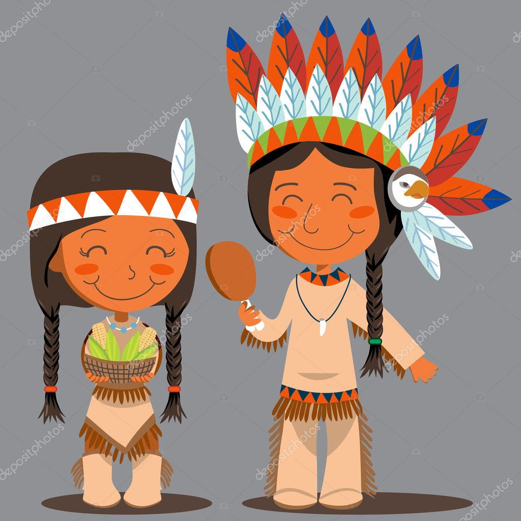Native American couple holding corn and turkey to celebrate Thanksgiving Day  Stock Vector #10033274