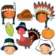 Thanksgiving Day faces and elements set - Stock Vector