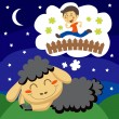 Black Sheep counting Children — Stock Vector