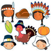 Thanksgiving Day faces and elements set — Stockvector