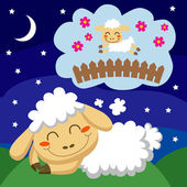 Sheep counting Sheep — Vector de stock