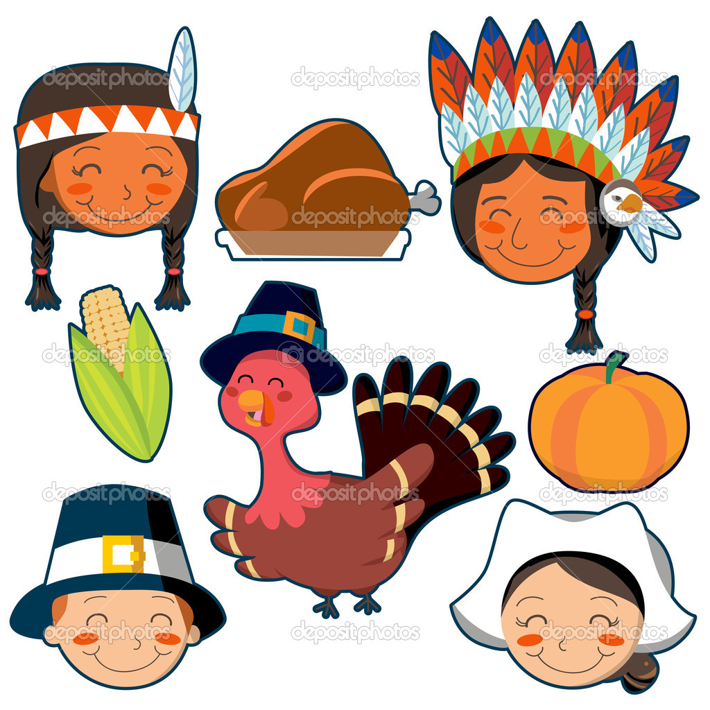 Set of Native American, Pilgrim faces and Thanksgiving design elements — Stock Vector #10404925