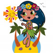 Hawaiian Aloha girl — Vector de stock