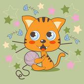 Orange Kitty — Stock Vector