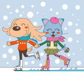 Para zwierząt na łyżwach — Wektor stockowy