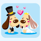 Married Dog Couple — Stock Vector