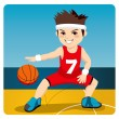 Stock Vector: Active Basketball Player