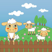 Bebek koyun otlatma — Stok Vektör