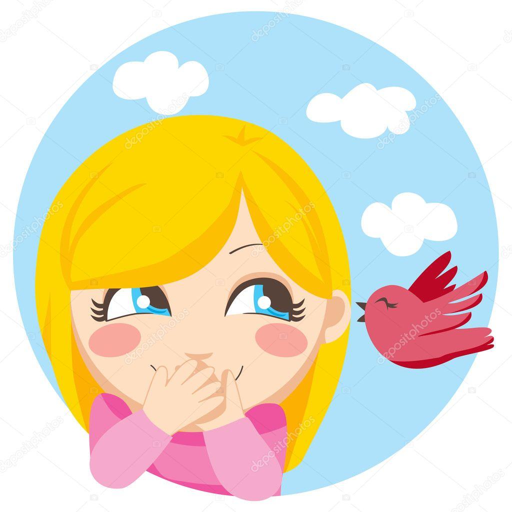 可爱的金发女孩惊讶的秘密一只小鸟在低声呼唤着她— vector by kaki