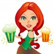 Saint Patrick Waitress — Stock Vector