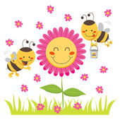 Happy Honey Bee — Stock Vector