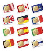 Sim kartları uluslararası. — Stok Vektör
