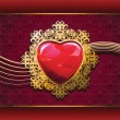 Vector de stock : Ruby heart in golden frame