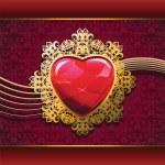 coração de rubi em moldura dourada — Vetorial Stock