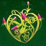 Floral Golden Heart — Stock Vector