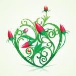 Floral Green Heart — Stock Vector