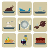Foods and Beverages Icons — Stock Vector