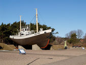 Klaipeda, Lithuania The fishery vessel of KOLYMA in an exposition of the Sea museum — Stock Photo