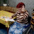 The woman-invalid was surprised, having seen accounts on housing and commun - Stock Photo