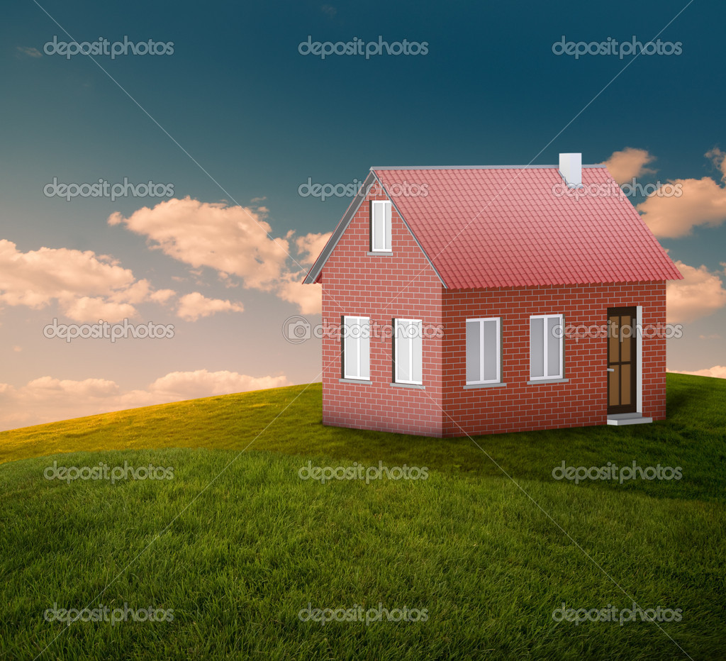 New house at landscape with blue sky  Stock Photo #10270054