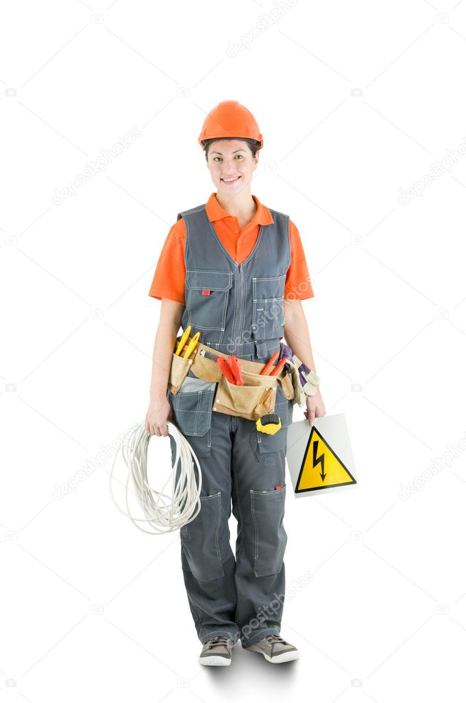 An electrician isolated on white — Stock Photo #8326183