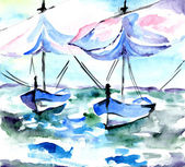 Boats on dark blue water on a wind a water color — Stock Photo