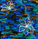 Couleur de l'eau colorée verser sur un papier — Photo