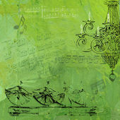 Fashion theatrical musical green background — Stock Photo