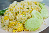 Fried rice with cucumber — Stock Photo
