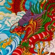 Red fire dragon painting in Chinese temple — Stok fotoğraf