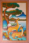 Pintura de ciervos en pared — Foto de Stock